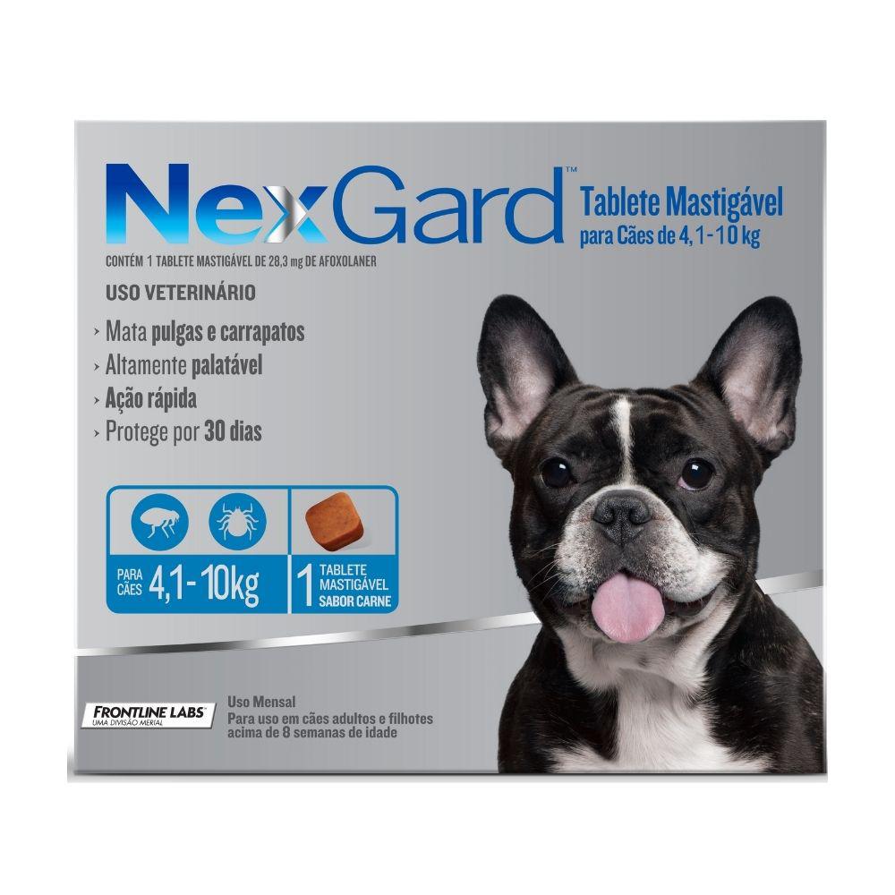 Antipulgas e Carrapatos NexGard Boehringer para Cães de  4,1 a 10kg - 1 Tablete