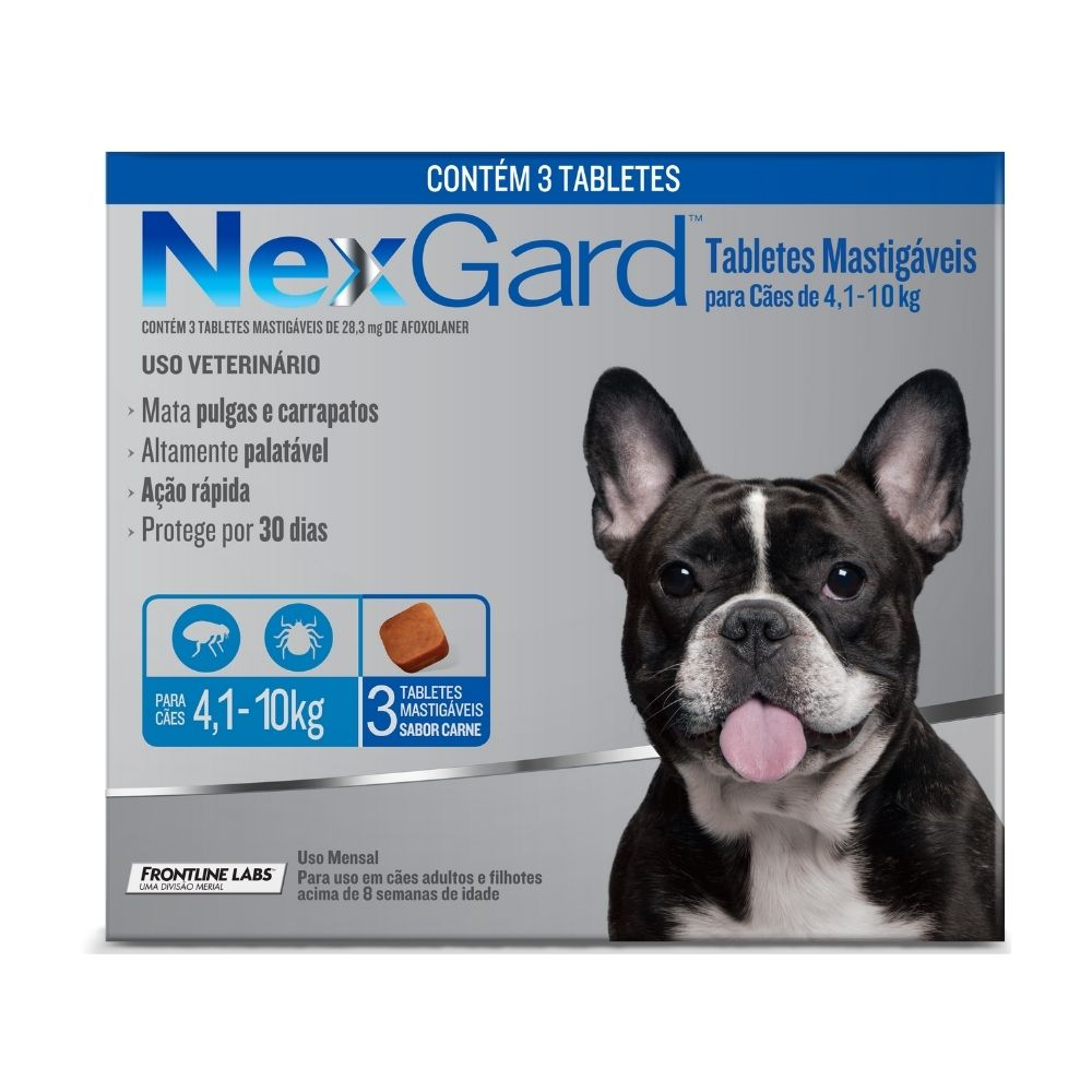 Antipulgas e Carrapatos NexGard Boehringer para Cães de  4,1 a 10kg - 3 Tabletes