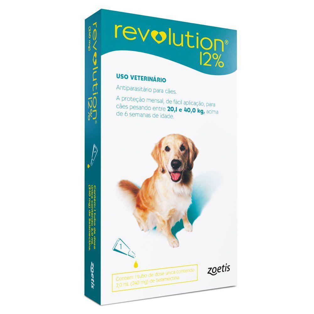 ANTIPULGAS E CARRAPATOS ZOETIS REVOLUTION 12 PARA CÃES DE 20,1 A 40 kg - 1 AMPOLA DE 2,0 ml