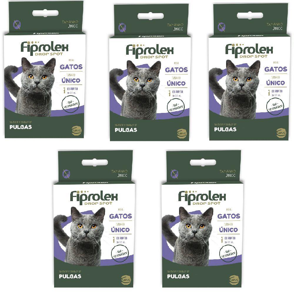 ANTIPULGAS FIPROLEX 0,67 Ml - GATOS - KIT COM 05