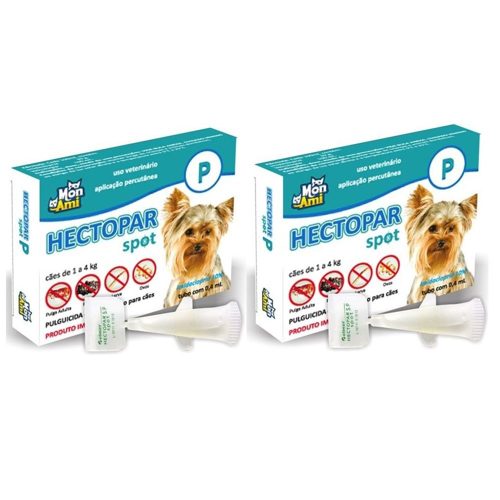 Antipulgas Hectopar P para Cães de 01 a 04 kg - 02 unidades