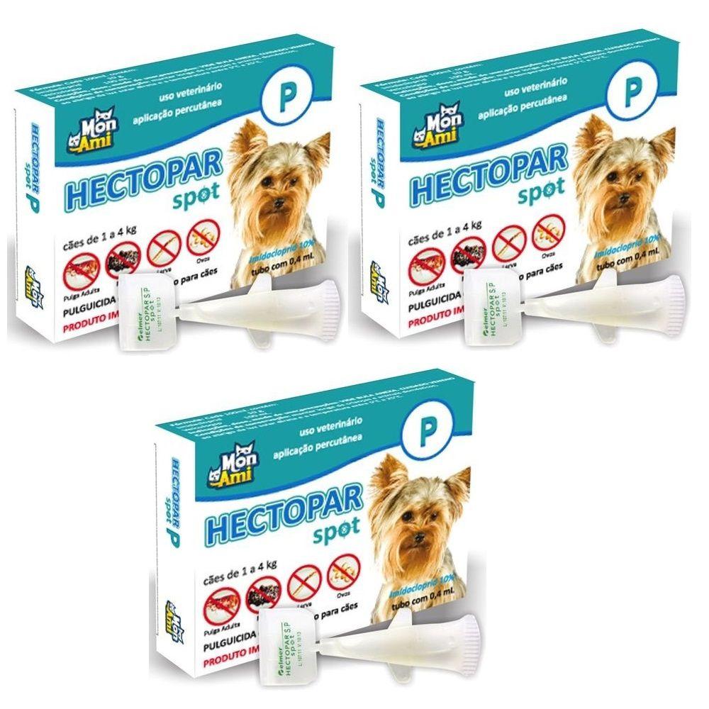 Antipulgas Hectopar P para Cães de 01 a 04 kg - 03 unidades