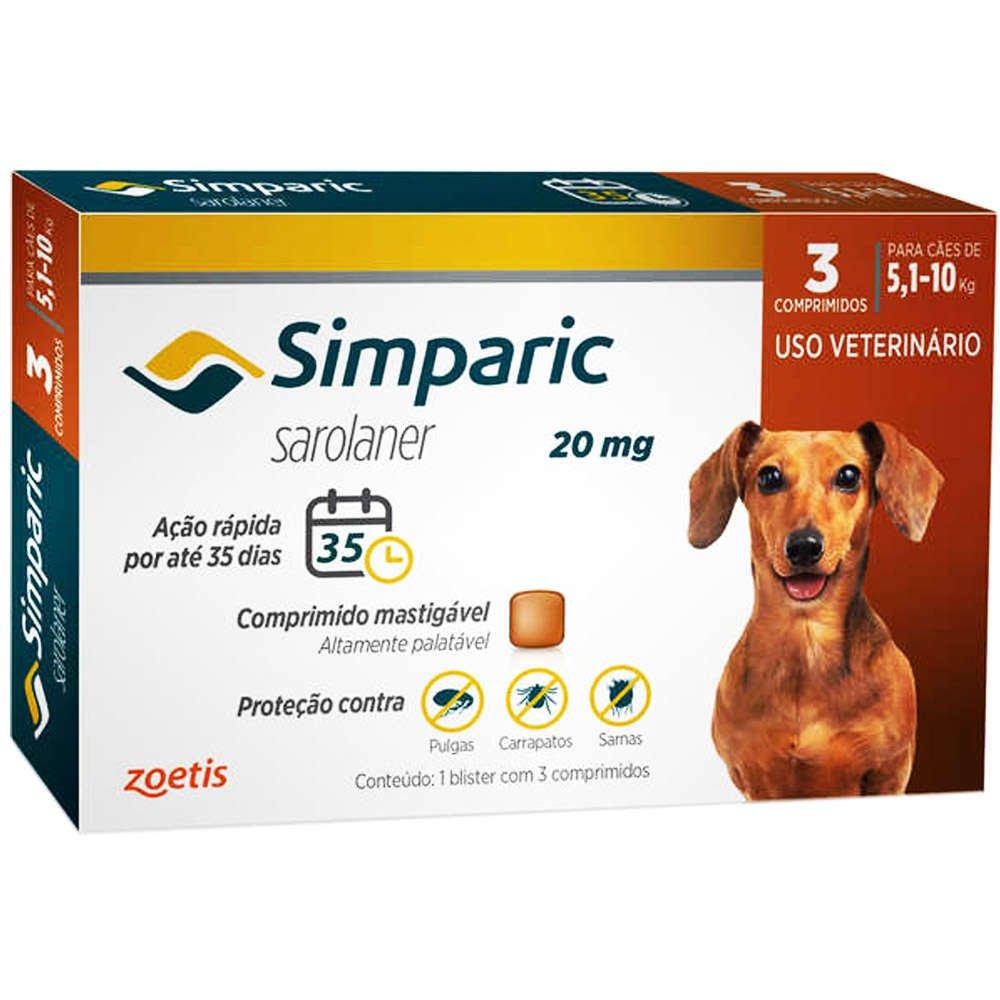 Antipulgas Simparic 20mg Cães 5,1 A 10 Kg - 3 Comprimidos