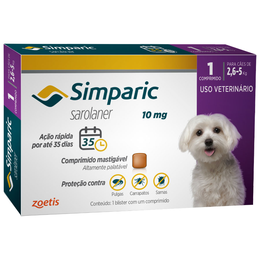 Antipulgas Zoetis Simparic  10mg Para Cães 2,6 A 5 Kg