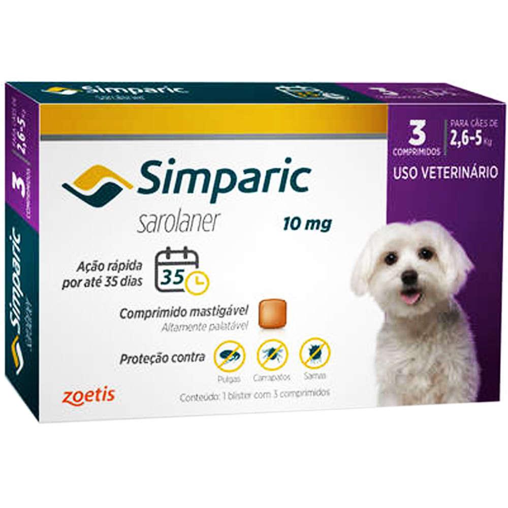Antipulgas Zoetis Simparic  10mg Para Cães 2,6 A 5 Kg - 3 Comprimidos