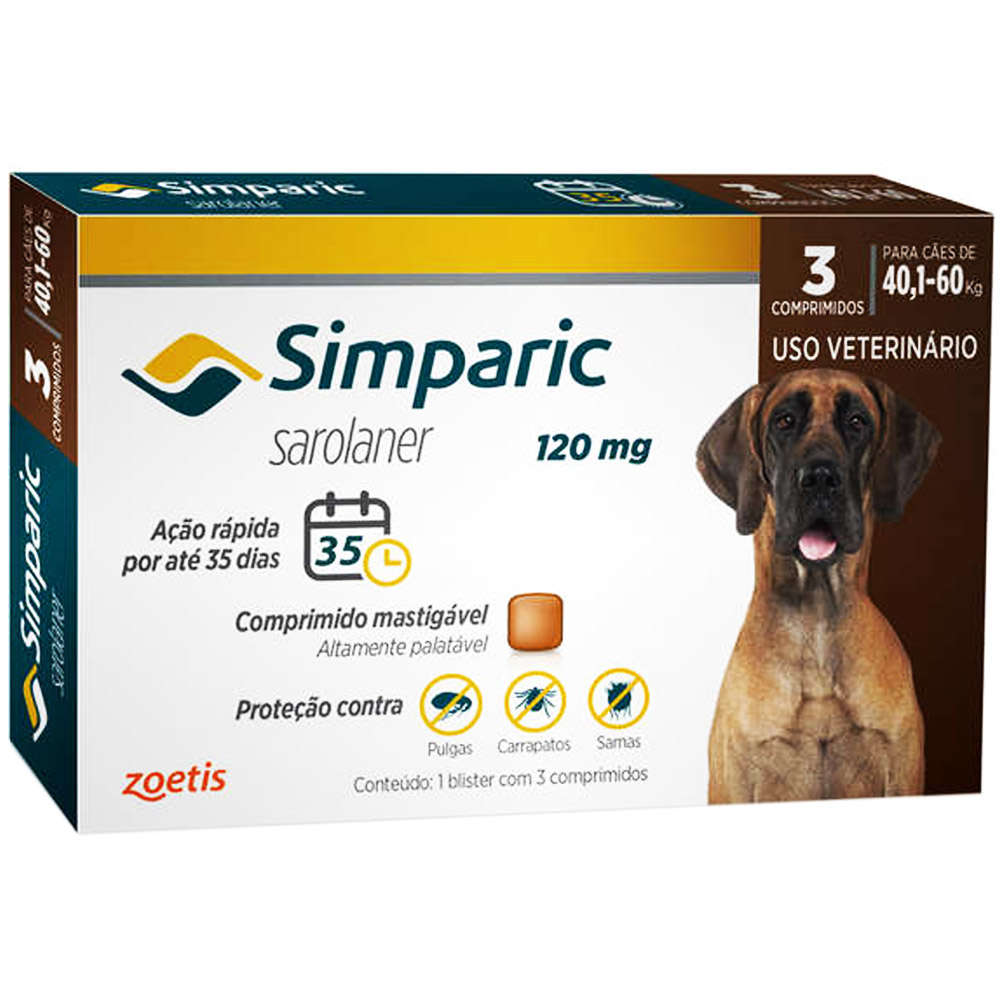 ANTIPULGAS ZOETIS SIMPARIC 120 mg PARA CÃES 40,1 A 60 kg ? 03 COMPRIMIDOS