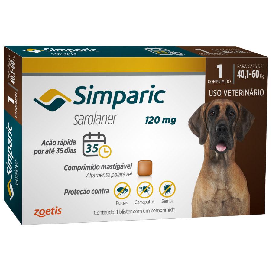 Antipulgas Zoetis Simparic 120mg Para Cães 40,1 A 60 Kg