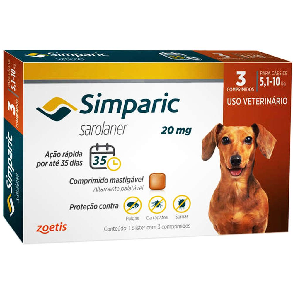 Antipulgas Zoetis Simparic  20mg Para Cães 5,1 A 10 Mg - 3 Comprimidos
