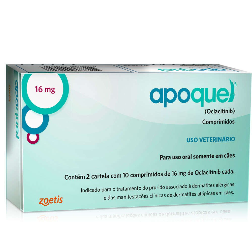 Apoquel Dermatológico Zoetis Para Cães 16 Mg -20 Comprimidos