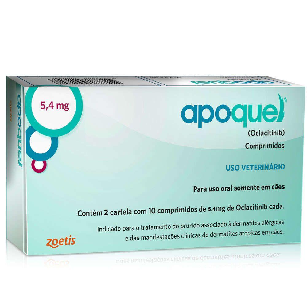 Apoquel Dermatológico Zoetis Para Cães 5,4 Mg 20 Comprimidos