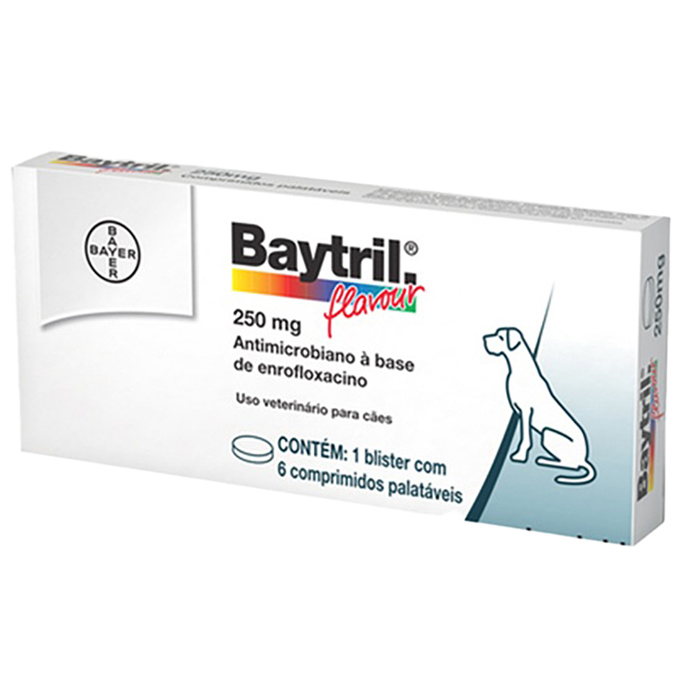 Baytril Flavour Bayer Cães e Gatos 250mg - 6 Comprimidos