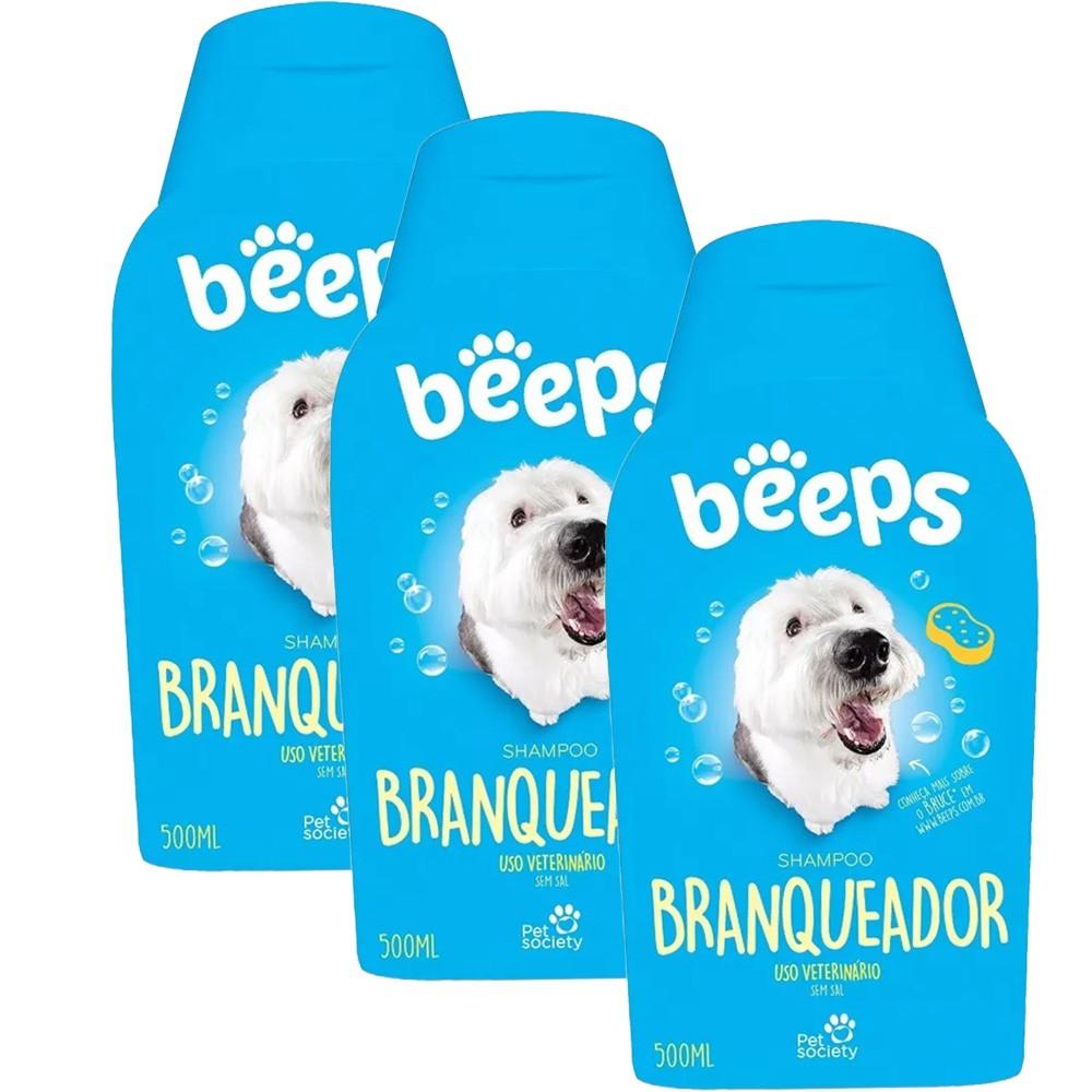 Beeps Shampoo Branqueador Pet Society 500ml. - 3 Unid.