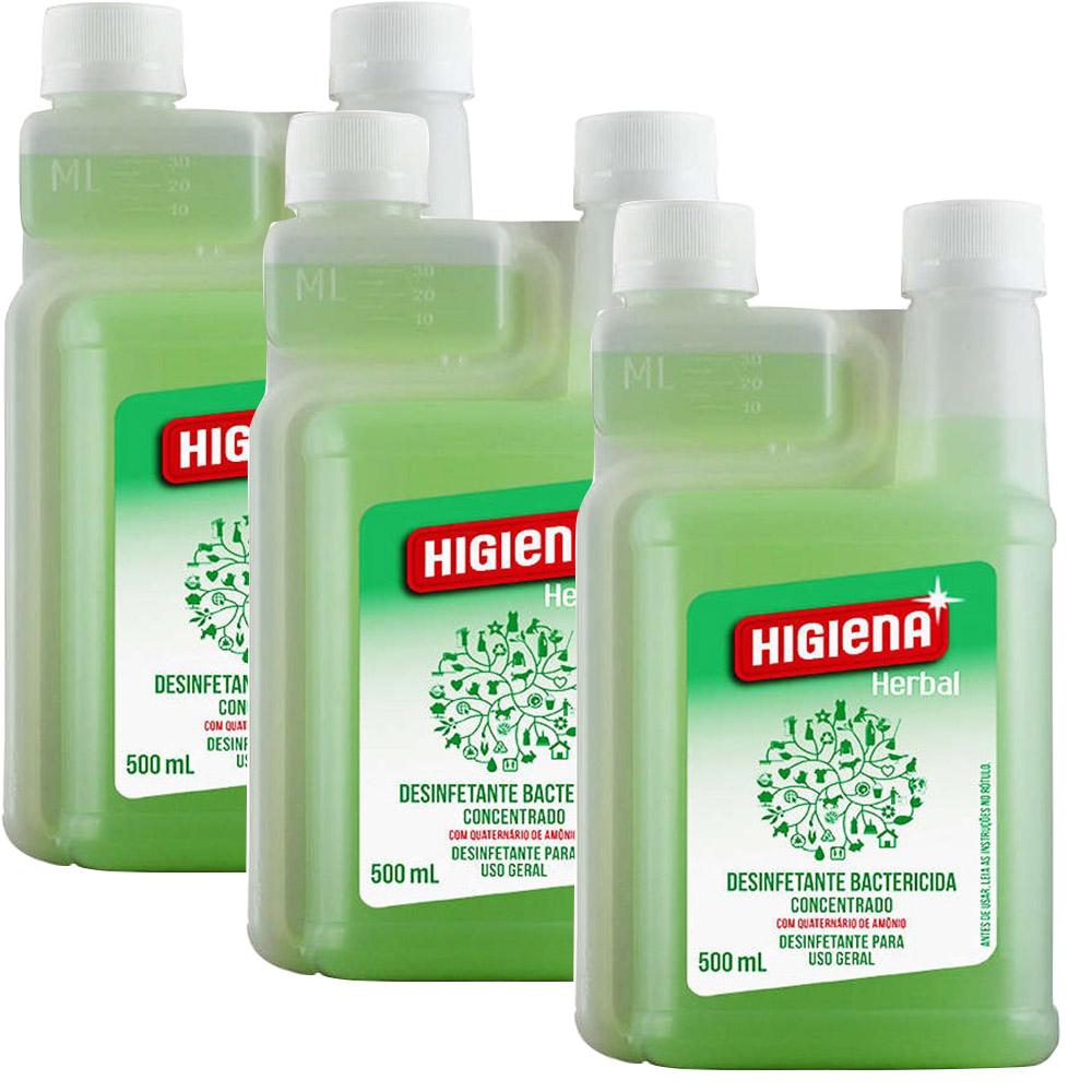 Desinfetante Higiena Herbal Unique 500 Ml -  3 Unidades