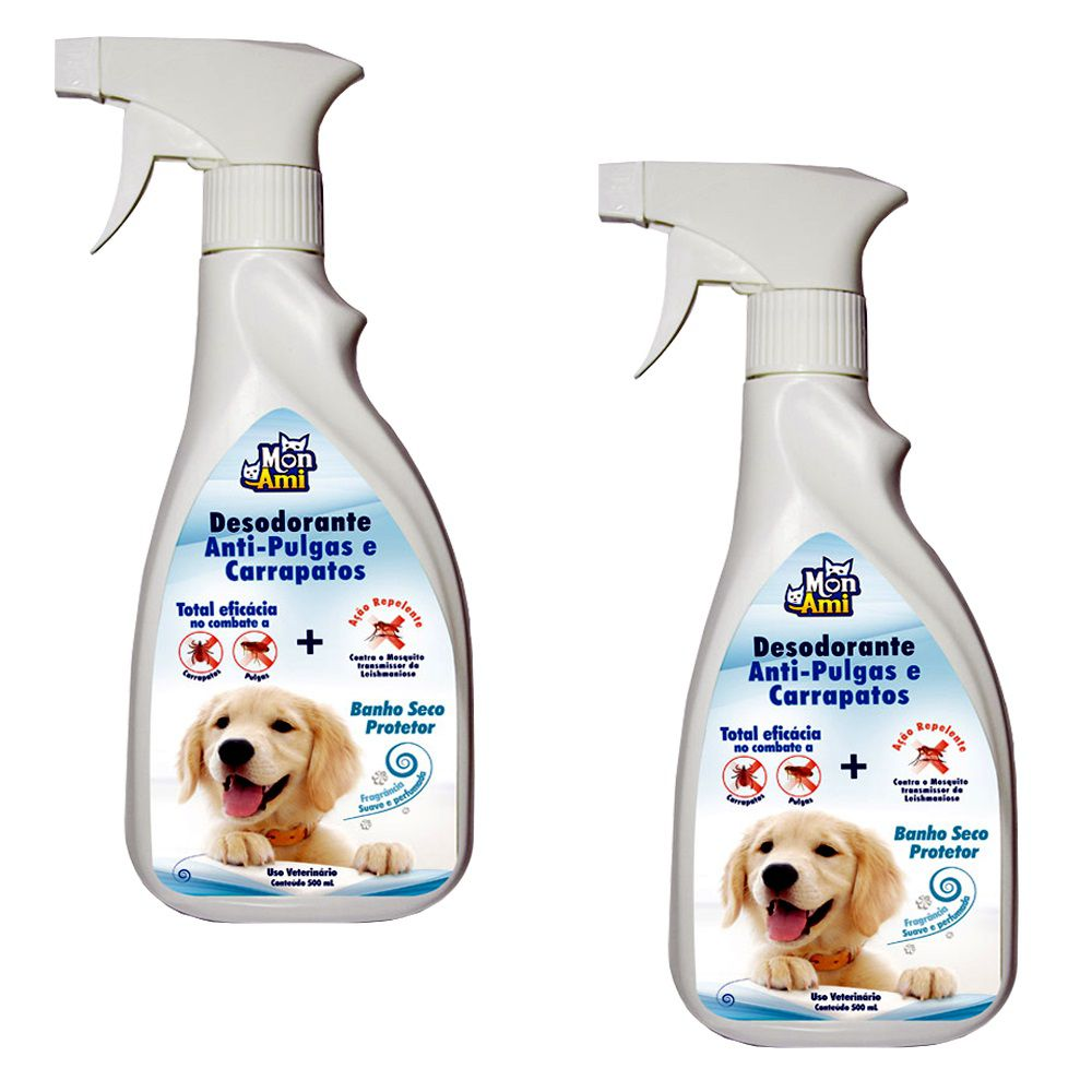 Desodorante Anti-Pulgas Carrapatos para Cães Mon Ami- 2 Unid