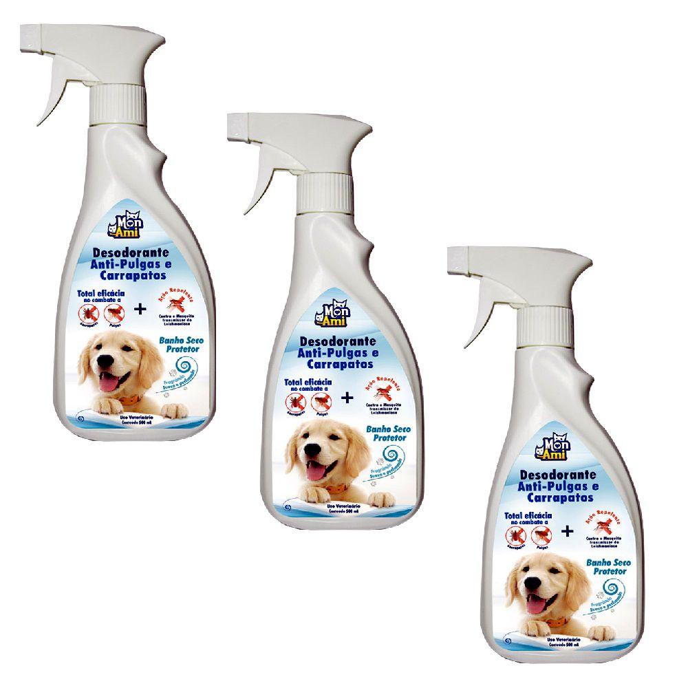 Desodorante Anti-Pulgas Carrapatos para Cães Mon Ami- 3 Unid