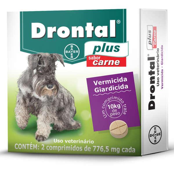 Drontal Plus Sabor Carne Cães 10kg 2 Comprimidos
