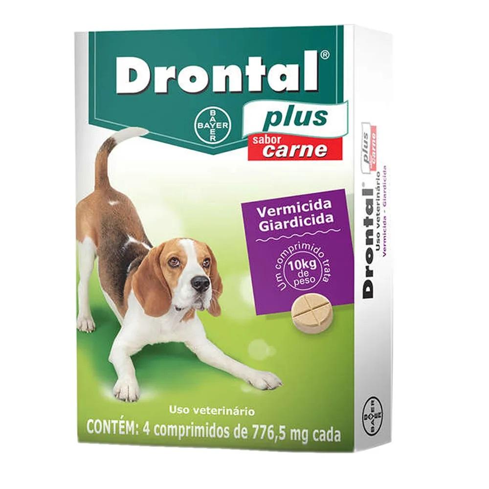 Drontal Plus Sabor Carne Cães 10kg 4 Comprimidos