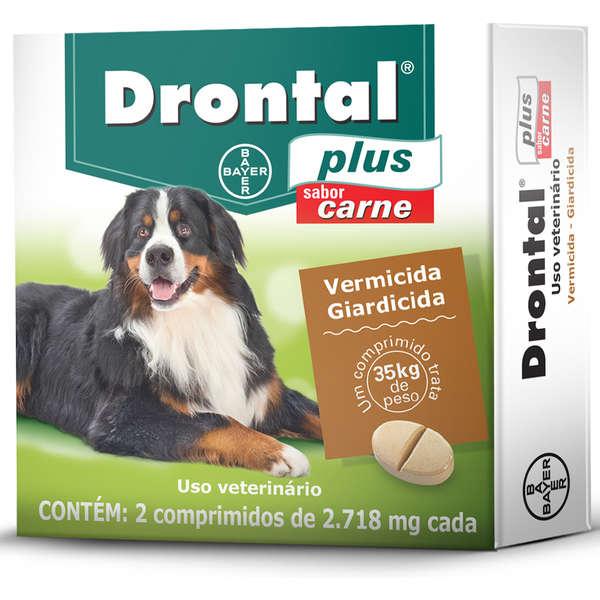 Drontal Plus Sabor Carne Cães 35kg 2 Comprimidos