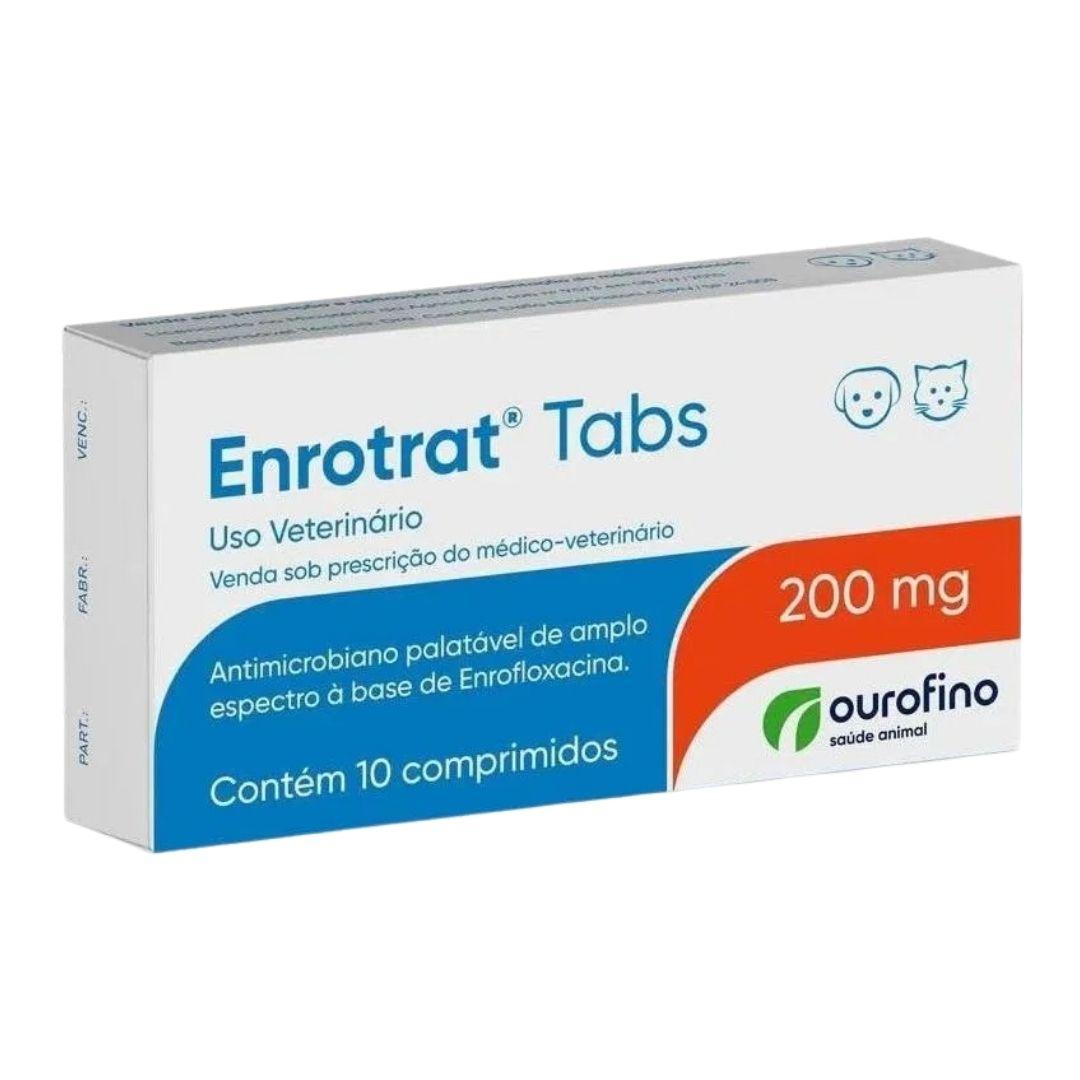 Enrotrat Tabs Ourofino 200mg - 10 Comprimidos - Enrofloxaxina
