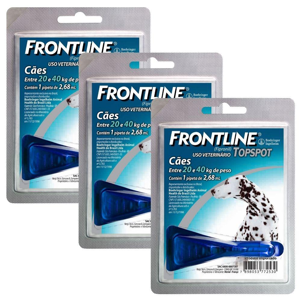 Frontline TopSpot Boehringer Cães Antipulgas 20 A 40kg - 03 unidades