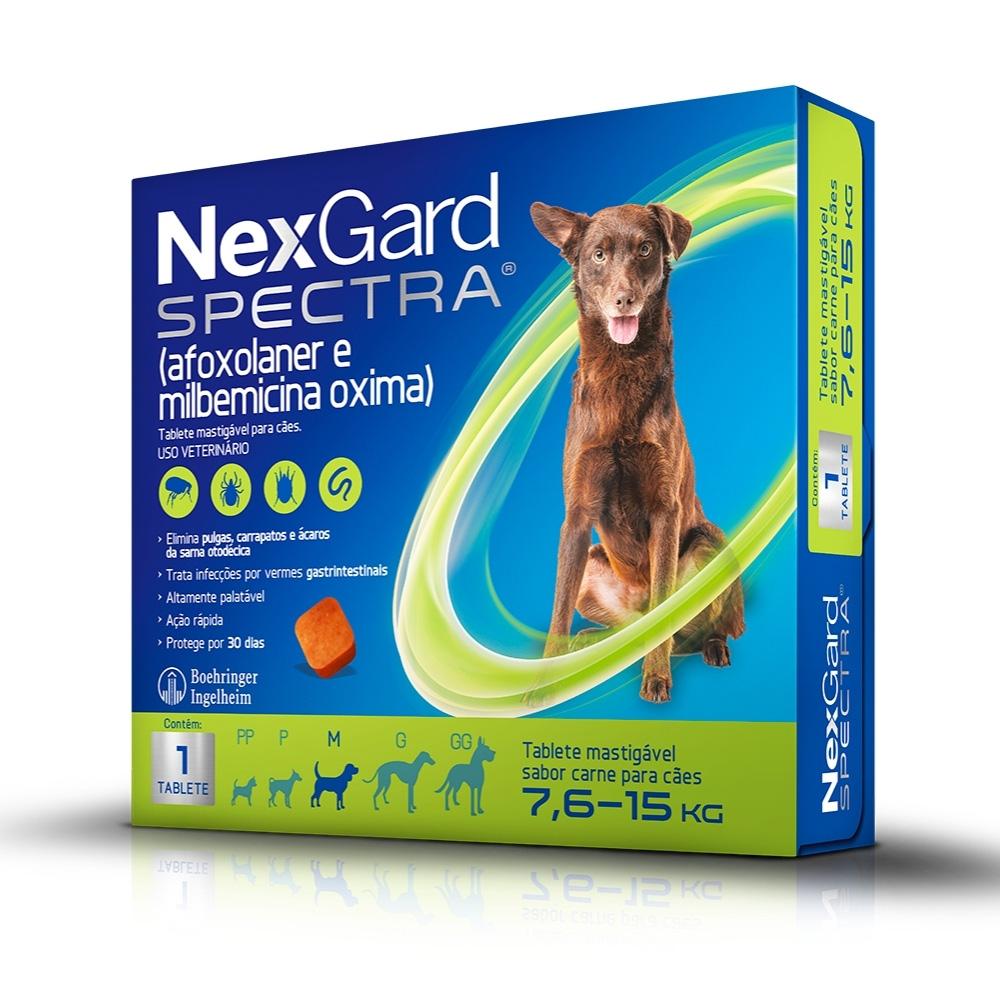 NexGard Spectra Boehringer Antipulgas e Carrapatos para Cães de  7,6 a 15kg