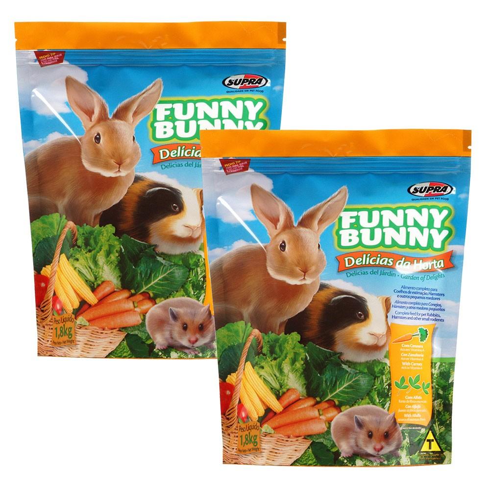Ração Funny Bunny Delícias Da Horta - 1,8Kg - 2 Unidades