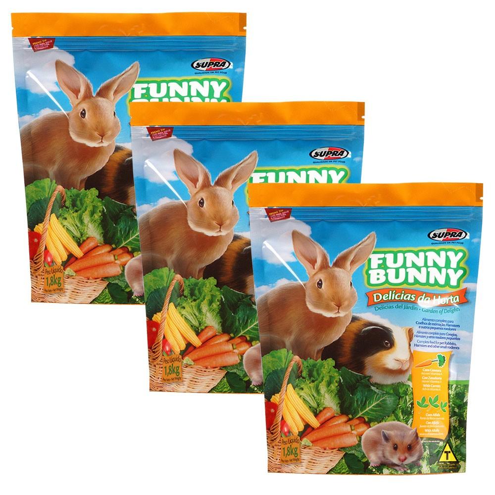Ração Funny Bunny Delícias Da Horta - 1,8Kg - 3 Unidades