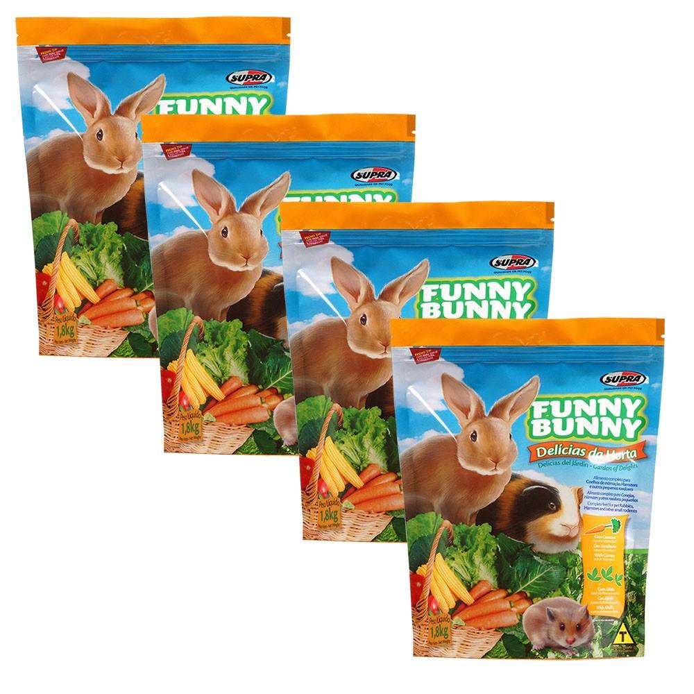 Ração Funny Bunny Delícias Da Horta - 1,8Kg - 4 Unidades