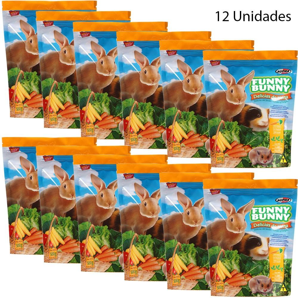 Ração Funny Bunny Delícias Da Horta - 500g - 12 Unidades