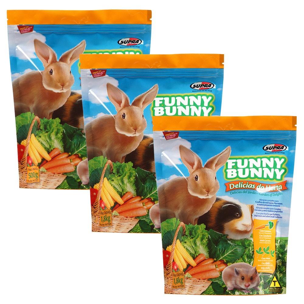 Ração Funny Bunny Delícias Da Horta - 500g -  3 Unidades