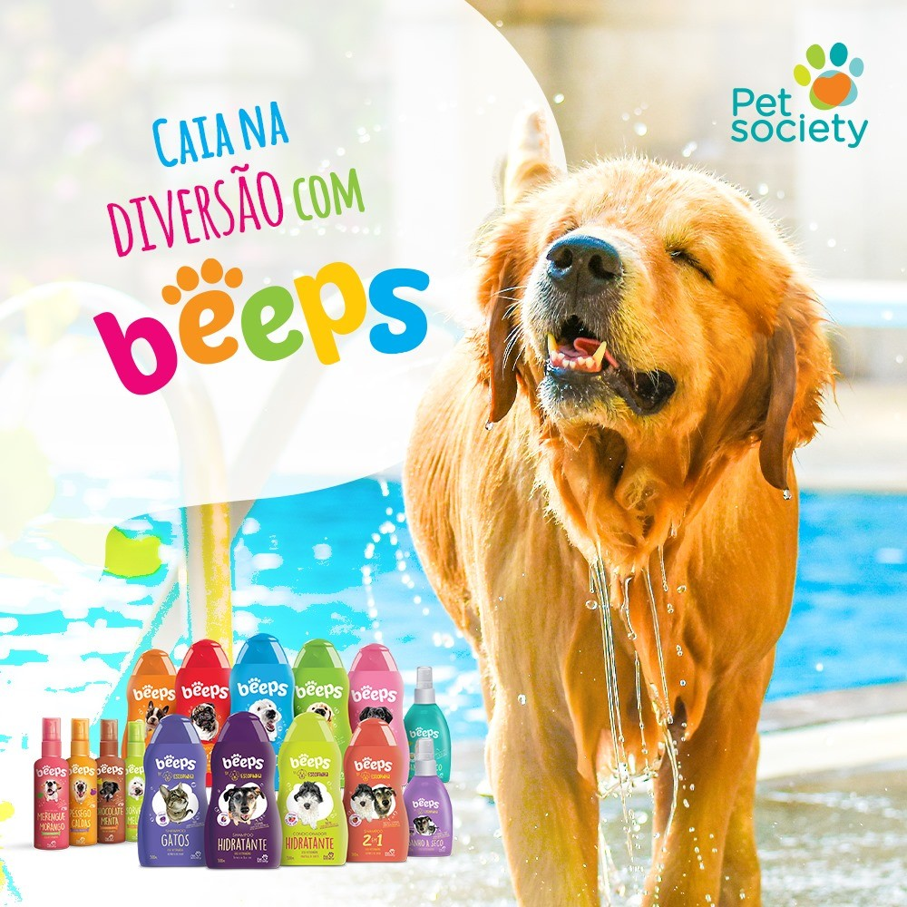 Shampoo Beeps By Estopinha 2 em 1 Pet Society 500ml Cães 2un