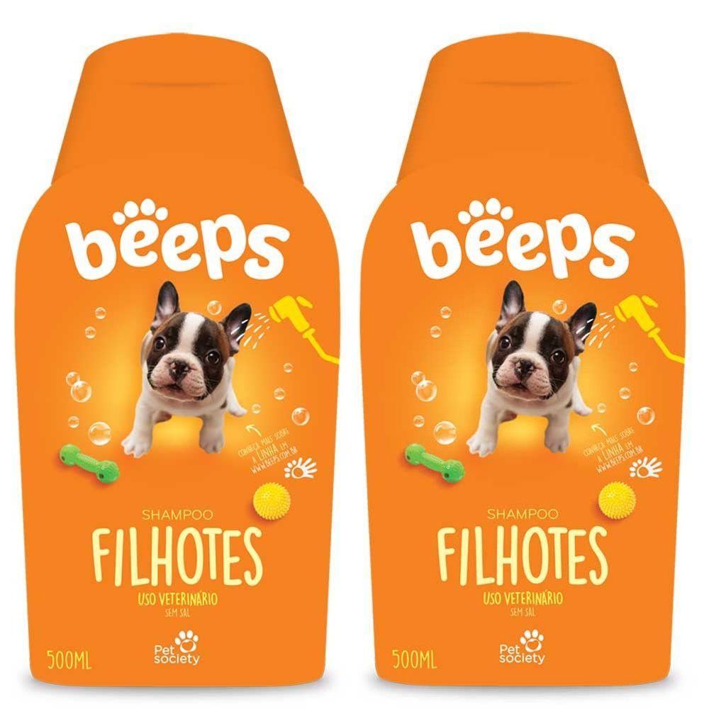 Shampoo Beeps Pet Society Filhotes Cães  Gatos 500ml 02 Unid.
