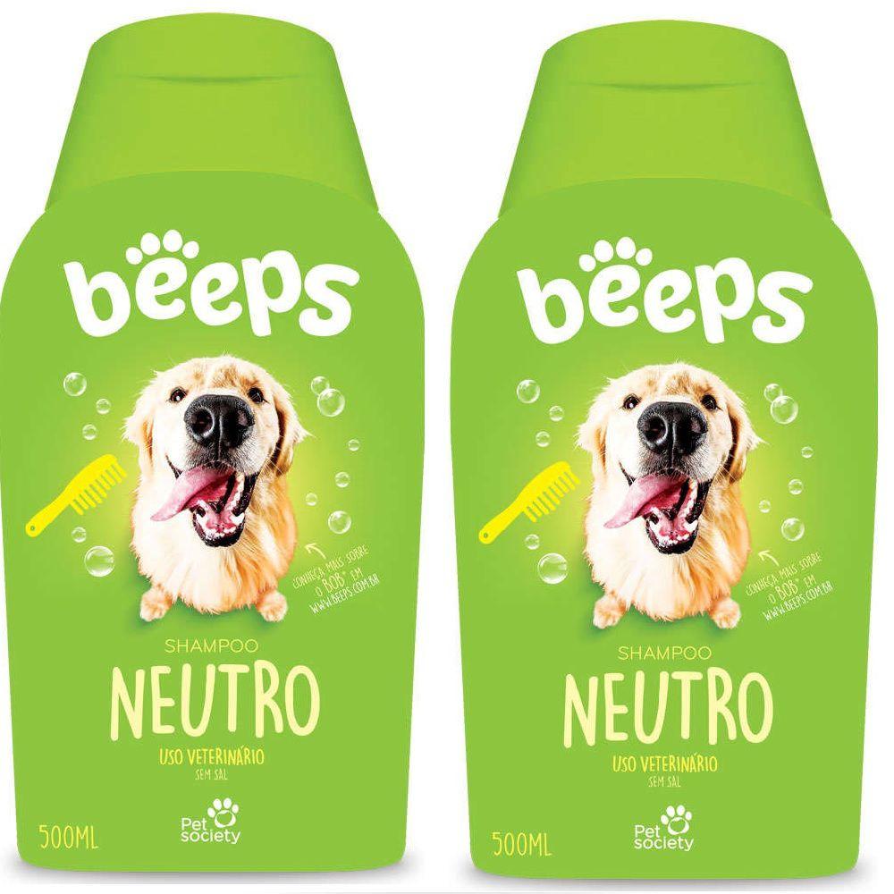Shampoo Beeps Pet Society Neutro Cães E Gatos 500ml - 2 Unid.