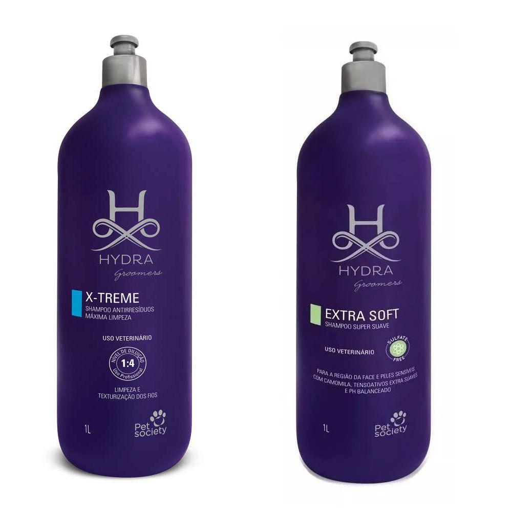 Shampoo Hydra Groomers Antirresíduos X-Treme + Extra Soft 1l