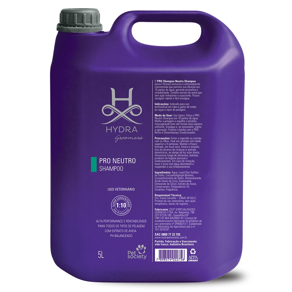 Shampoo Pet Society Hydra Pro Neutro 5l - Diluição 1:10