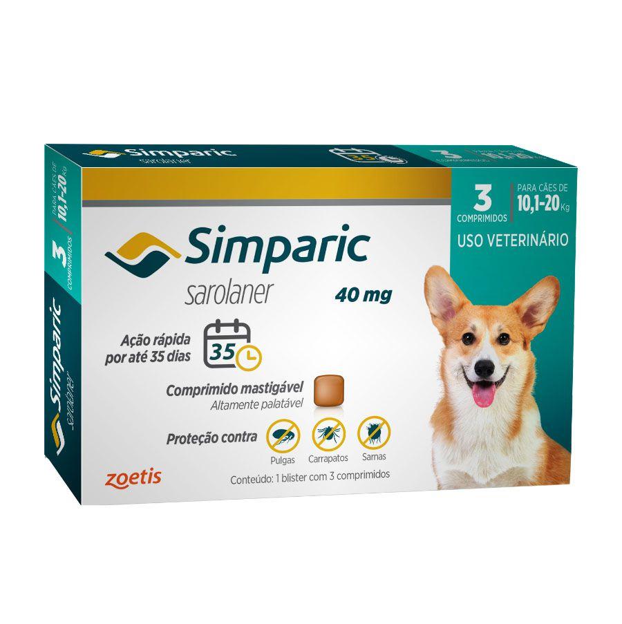Simparic Antipulgas Cães 10,1 A 20kg 3 Comp. 20mg