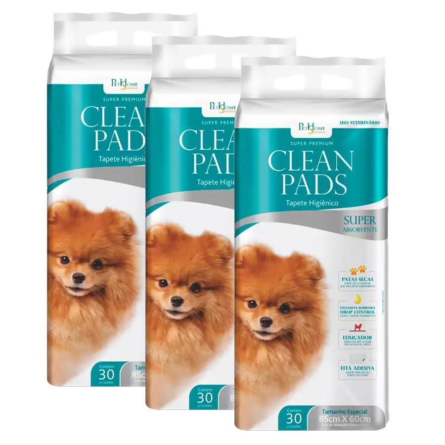 Tapete Higiênico Clean Pads 03 Pacotes C/ 30 Unidades