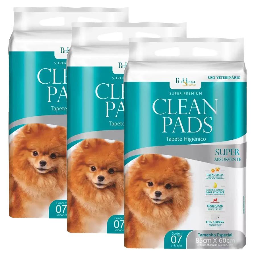 Tapete Higiênico Clean Pads 3 Pacotes C/ 7 Unidades