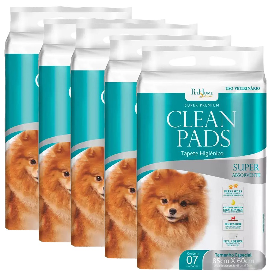Tapete Higiênico Clean Pads 5 Pacotes C/ 7 Unidades