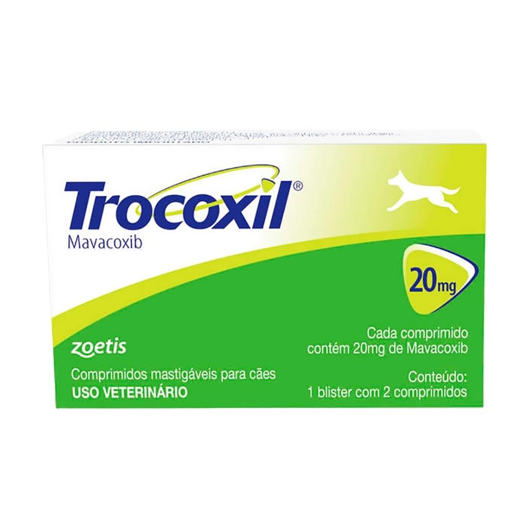 Trocoxil 20mg Zoetis - 2 comprimidos Anti-inflamatório para cães