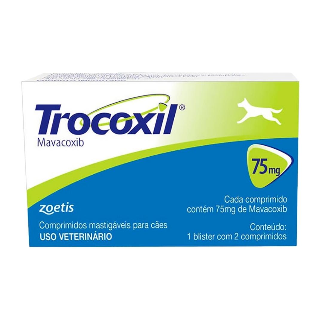 Trocoxil 75mg Zoetis - 2 comprimidos Anti-inflamatório para cães