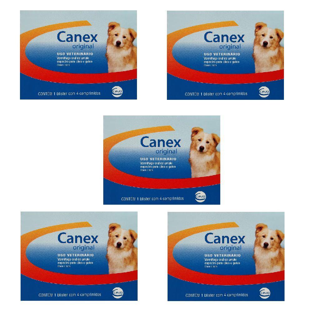 Vermífugo Ceva Canex Original Cães 05 Caixas C/4 Comprimidos