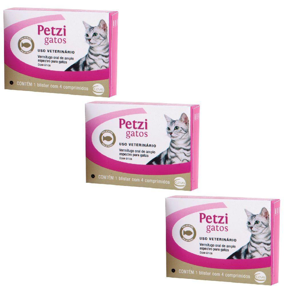 Vermífugo Ceva Petzi Plus Para Gatos - Kit 03 Unidades