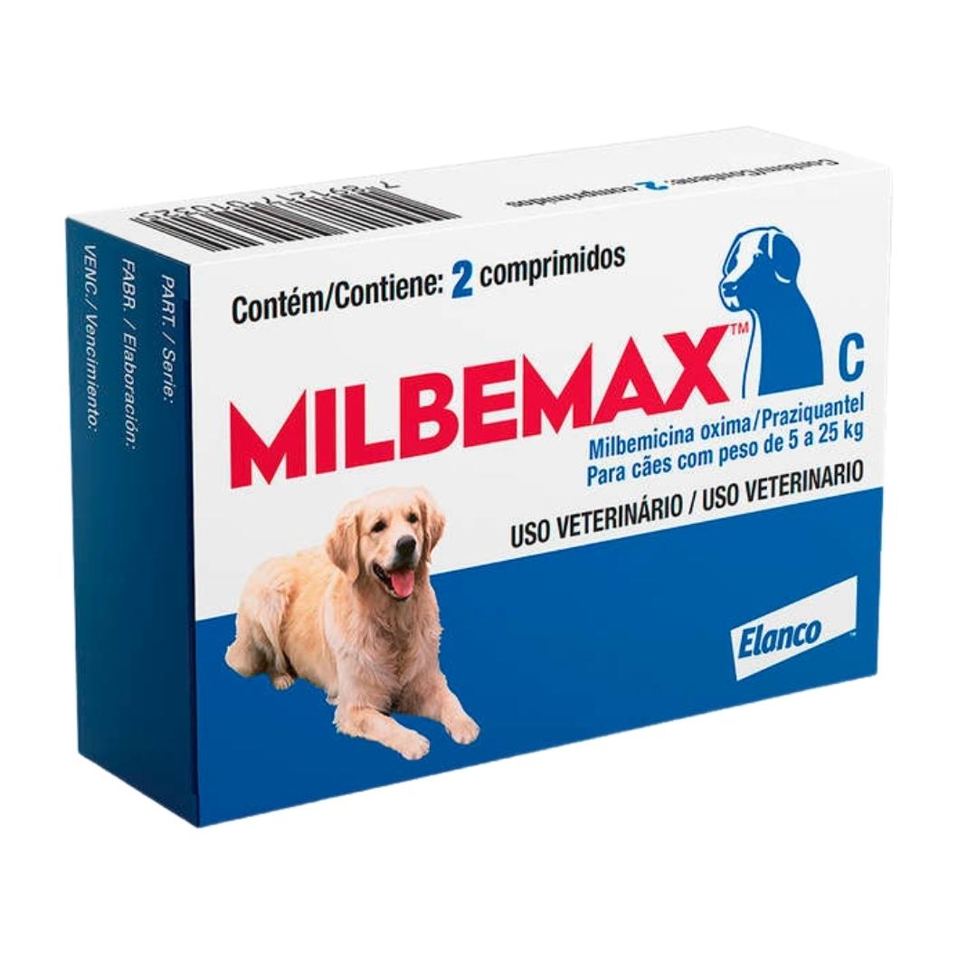 Vermífugo Milbemax C Elanco para Cães de 5 a 25kg - 2 comprimidos
