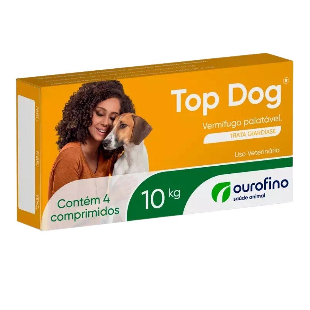 Vermífugo Top Dog Ourofino 1000mg  para Cães 10kg - 4 Comprimidos