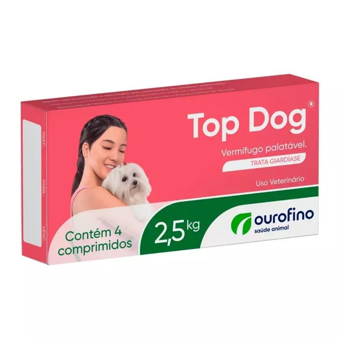 Vermífugo Top Dog Ourofino  250 mg para Cães 2,5kg - 4 comprimidos