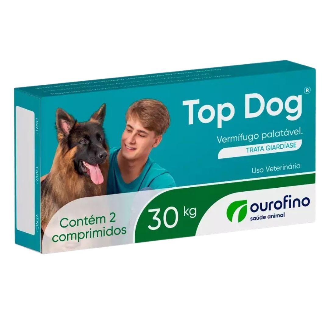 Vermífugo Top Dog Ourofino 3000mg para Cães 30kg - 2 Comprimidos