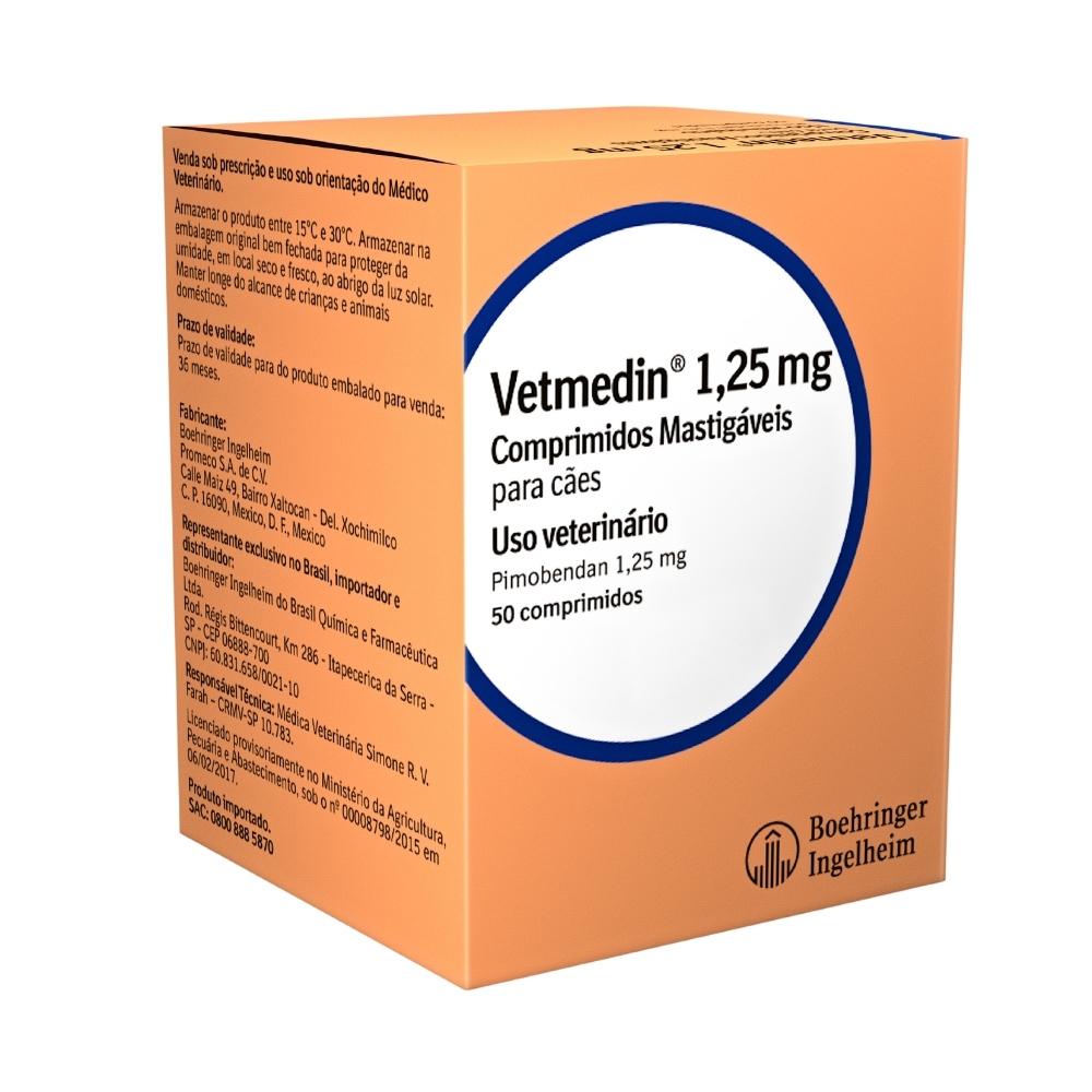 Vetmedin Boehringer 50 Comprimidos Mastigáveis para Cães - 1,25mg