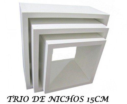 Trio De Nichos 30/25/20-15cm De Profundidade 100% Mdf Branco  - Virtude Móveis