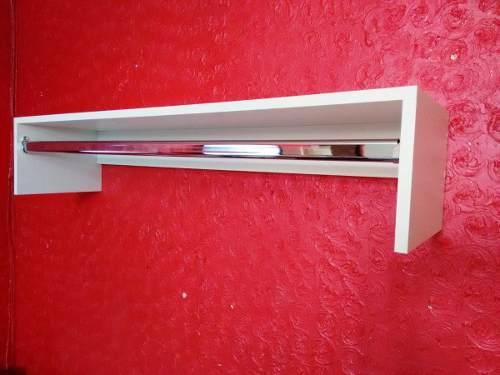 Cabideiro De Parede De 1 Metro-100x20x25-mdf-suporte Cromado  - Virtude Móveis